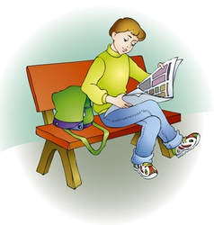 Young readers sat on a bench and read magazine vector