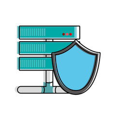 color wifi router technology with shield security vector image