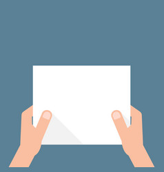 hand holding white sheet of paper vector image
