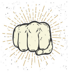 human fist on white background vector image vector image