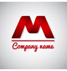 Icon of paper business logo letter m vector image