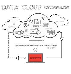 line art of cloud computing technology service vector image