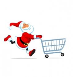 Santa run with shopping cart vector image vector image