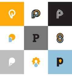 Set of letter P logo templates vector image