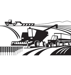 Agricultural machinery in the field vector image