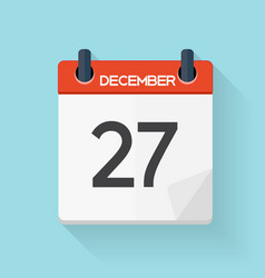 December 27 Calendar Flat Daily Icon vector image