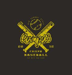 emblem of baseball campus team vector image vector image