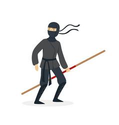 ninja assassin character in a full black costume vector image