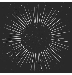 Vintage hand drawn eclipse with rays starburst vector