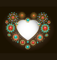 ethnic frame in the shape of heart vector image vector image