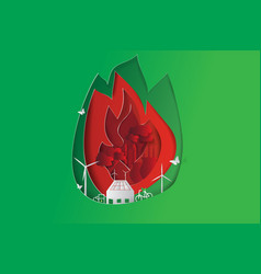 Green city opposites with eco fire concept vector