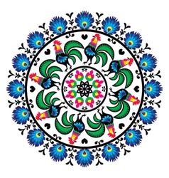 Polish traditional folk art pattern in circle w vector image vector image