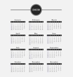 2020 year calendar vertical design vector