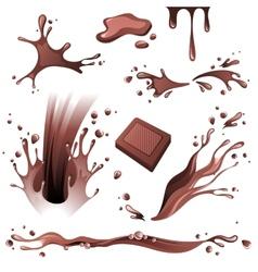 Chocolate splashes set vector