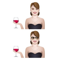 elegance cute young woman with glass of wine vector image vector image