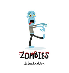 funny blue zombie character in cartoon style vector image vector image