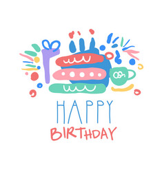 happy birthday logo template colorful hand drawn vector image vector image