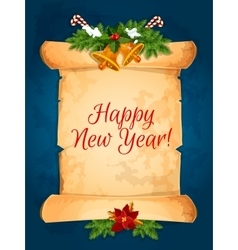 Happy New Year wishes with scroll vector image vector image