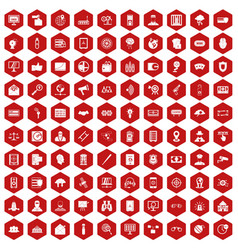 100 security icons hexagon red vector