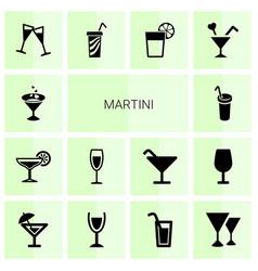 14 martini icons vector