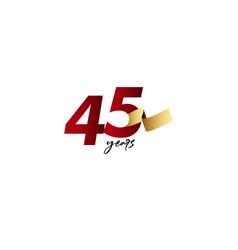 45 years anniversary celebration gold ribbon vector