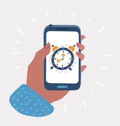 Alarm clock on smartphone screen vector