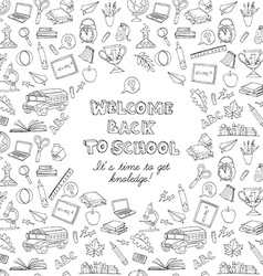 Back to school greeting card of kids doodles with vector image