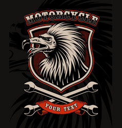 Biker patch with vulture and crossed wrenches vector