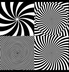 Black and white hypnotic psychedelic spiral with vector
