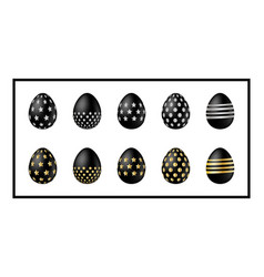 black easter eggs icons vector image