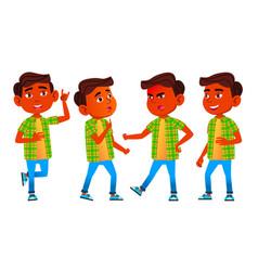 boy schoolboy kid poses set indian hindu vector image