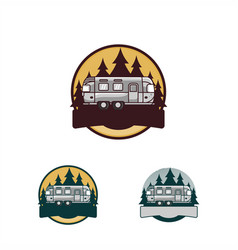 Camp holiday with camper car logo vector