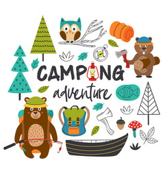 camping adventure with animals vector image