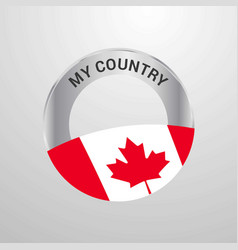 canada my country flag badge vector image