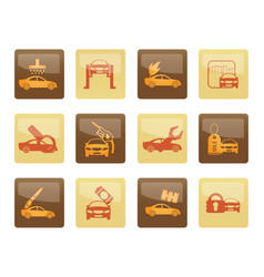 car and automobile service icons over brown backgr vector image