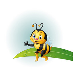 cartoon bee sitting on a leaf vector image