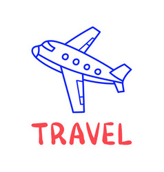 cartoon travel plane doodle lettering for vector image
