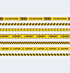 caution tape set do not enter yellow ribbon vector image