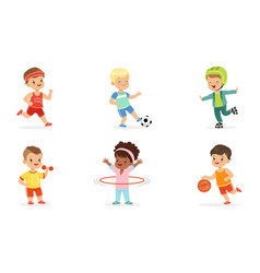 Children in different sports uniforms set of vector