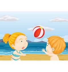 Children playing volleyball at the beach vector image vector image