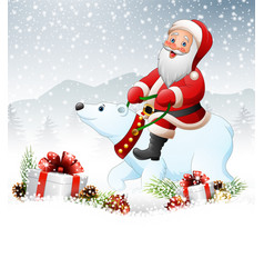 christmas background with santa riding polar bear vector image