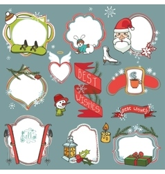 Christmas season doodle badgeswinter symbols vector