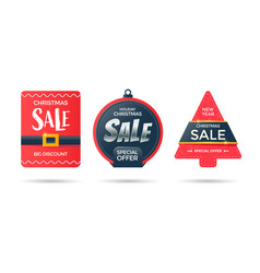 christmas tree and ball red labels for discount vector image