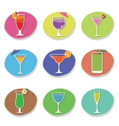 cocktail icons vector image vector image