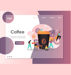 coffee website landing page design template vector image