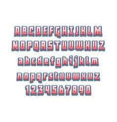comic lettering font 3d alphabethand vector image