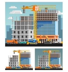 Construction And City Compositions Set vector image