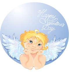 Cute angel in the round frame Valentines Day card vector image