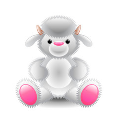 cute white lamb soft toy isolated on white vector image