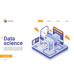 data science isometric landing page vector image
